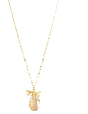 Long necklace with dragonfly and Swarovski crystal drop - Dige Designs