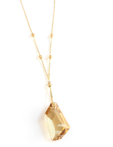 Dige Designs long necklace with Golden Shadow Swarovski crystals