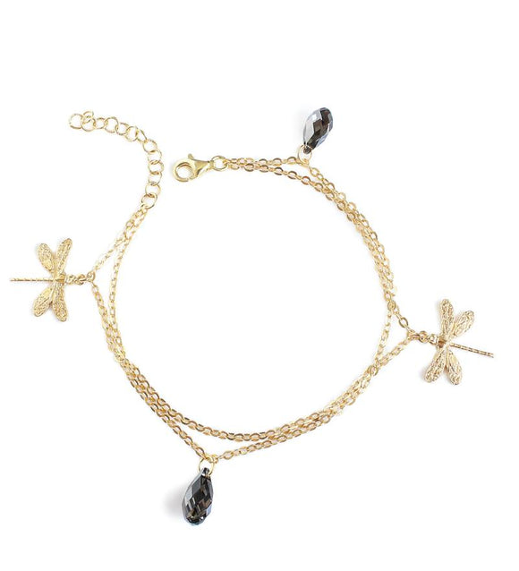 Dragonfly bracelet with Swarovski crystals - Dige Designs