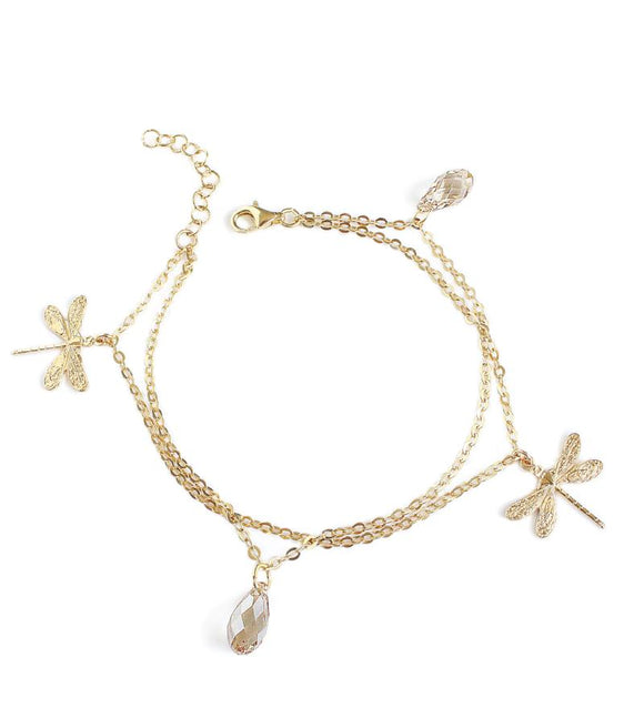 Dragonfly bracelet with golden shadow Swarovski crystals