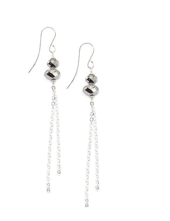 Silver earrings with Black Diamond Swarovski crystals - Dige Designs