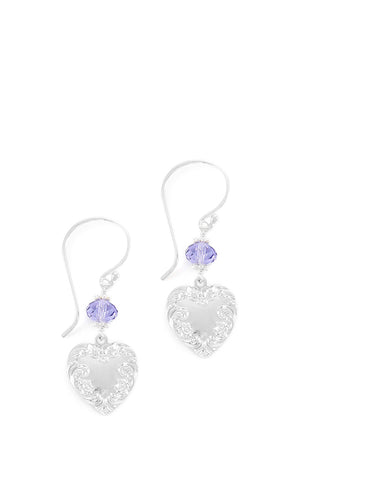 Silver heart earrings with Tanzanite Swarovski crystals - Dige Designs