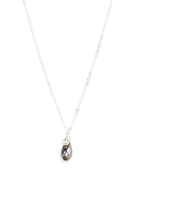 Short silver necklace with Black Diamond Swarovski crystal drop - Dige Designs