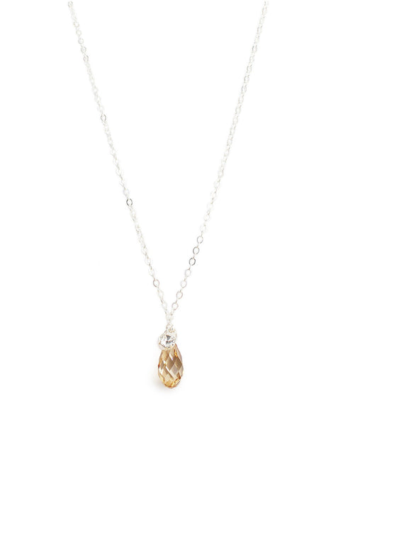 Short silver necklace with Golden Shadow Swarovski crystal drop - Dige Designs