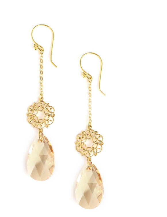 Long earrings with Golden Shadow Swarovski crystal drops - Dige Designs