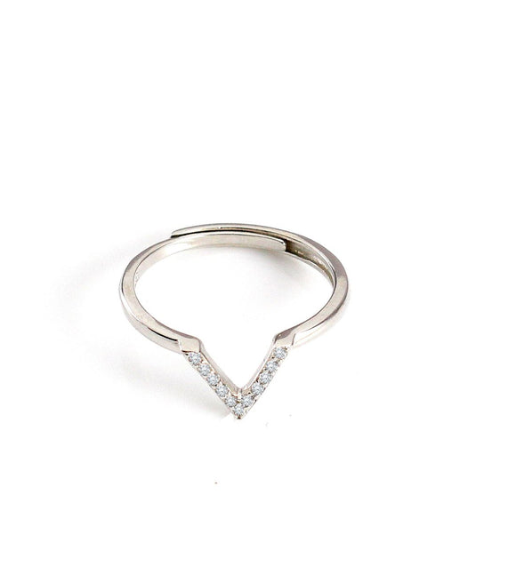 Rhodium plated V ring with crystals - Dige Designs