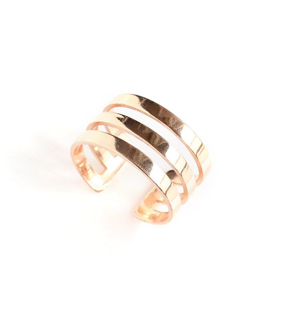 Rose goldplated triple band ring - Dige Designs