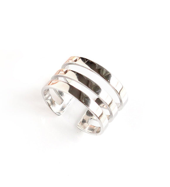 Rhodium plated triple band ring - Dige Designs