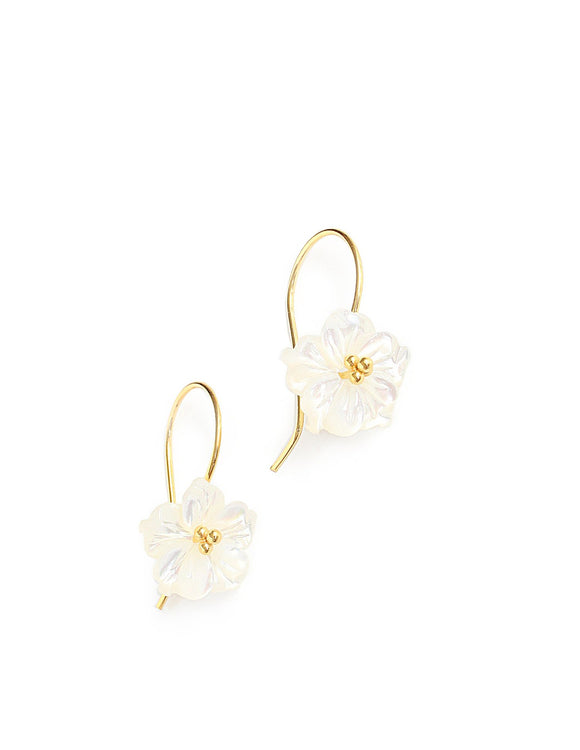 White mother of pearl flower earrings - Dige Designs