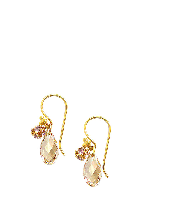 Gold earrings with golden shadow drops