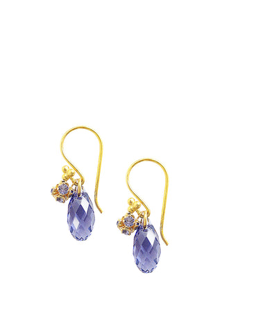 Earrings with Tanzanite Swarovski crystal drops - Dige Designs