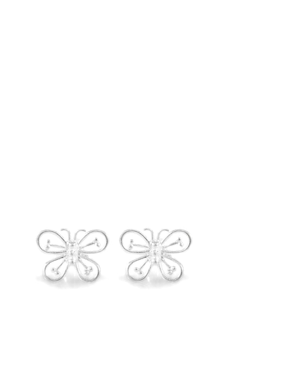 Silver butterfly stud earrings - Dige Designs