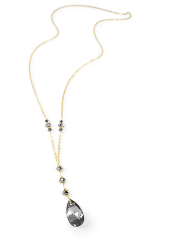 Long gold necklace with black diamond Swarovski crystals