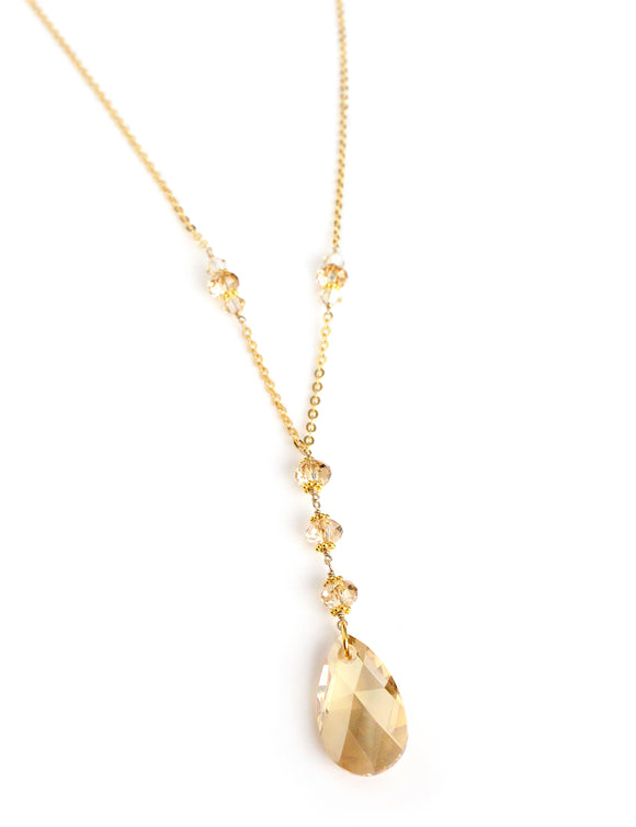 Long necklace with Golden Shadow Swarovski crystals - Dige Designs