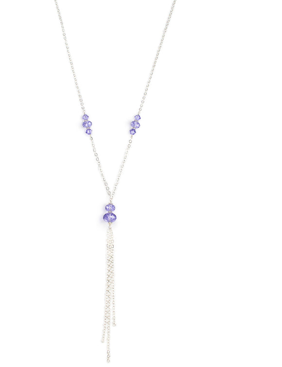 Long necklace with Tanzanite Swarovski crystals - Dige Designs