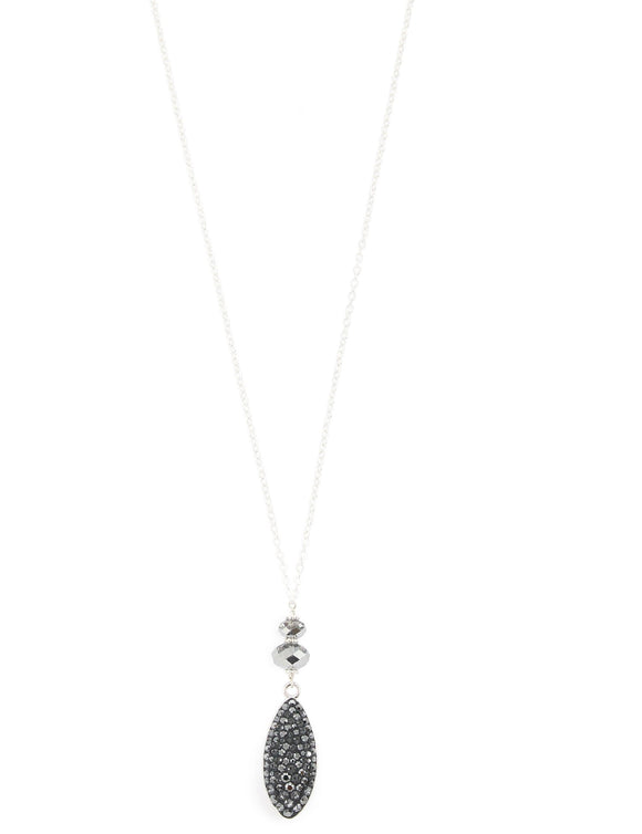 Long silver necklace with Black Diamond Swarovski crystals - Dige Designs