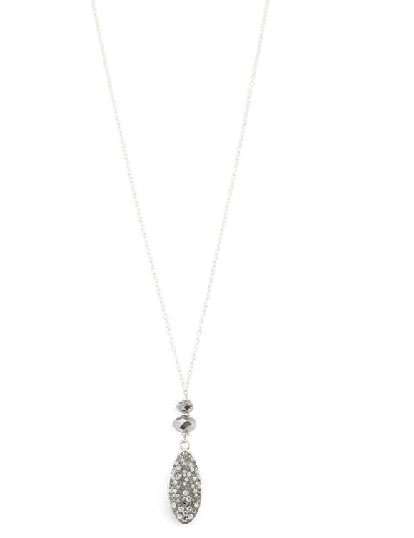 Long silver necklace with Grey Swarovski crystals - Dige Designs