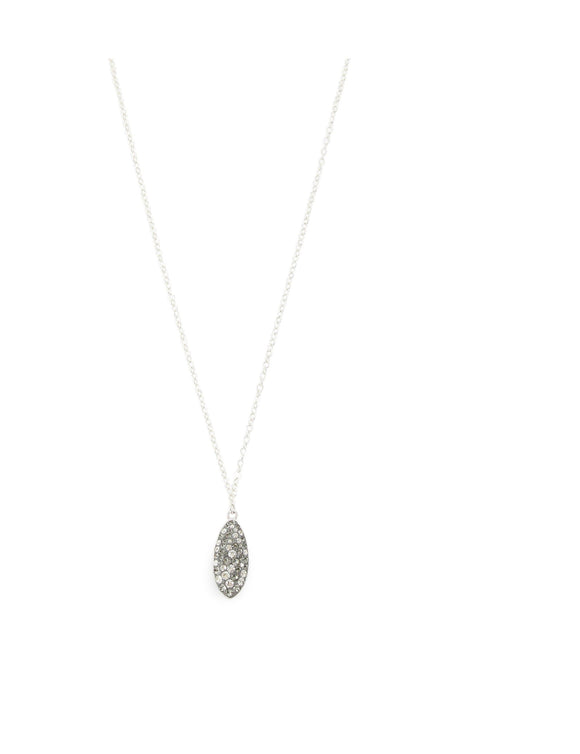 Short silver necklace with Grey Swarovski crystal drop - Dige Designs
