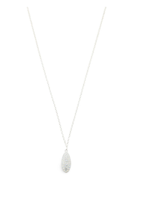 Short silver necklace with White Swarovski crystal drop - Dige Designs
