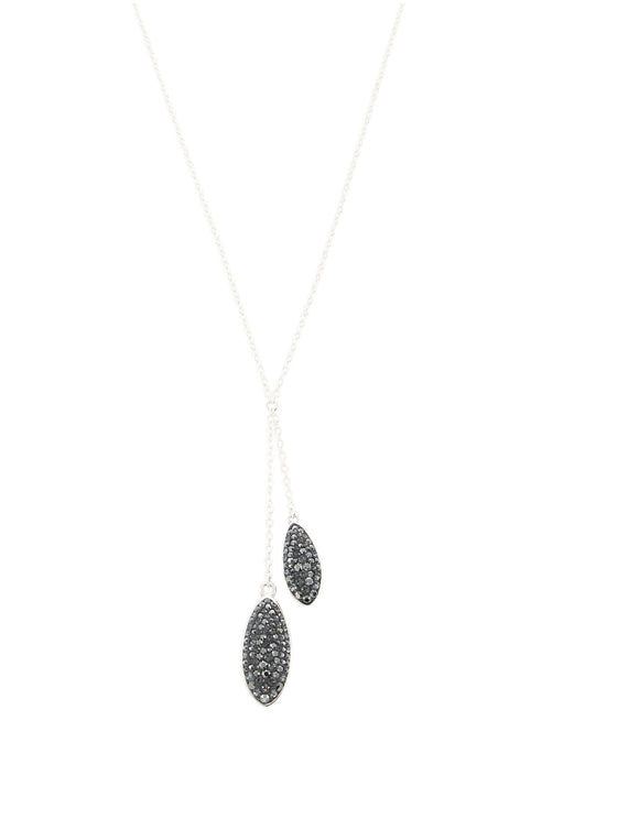 Short silver necklace with Black Diamond Swarovski crystals - Dige Designs