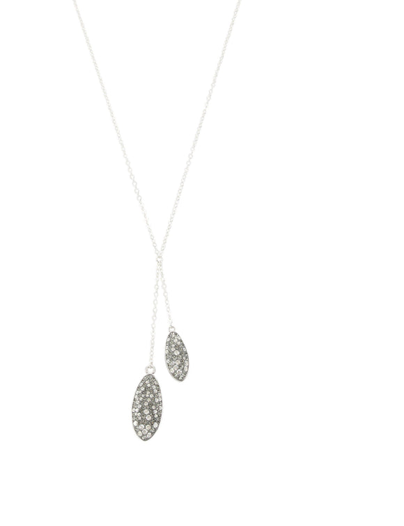 Short silver necklace with Grey Swarovski crystals - Dige Designs
