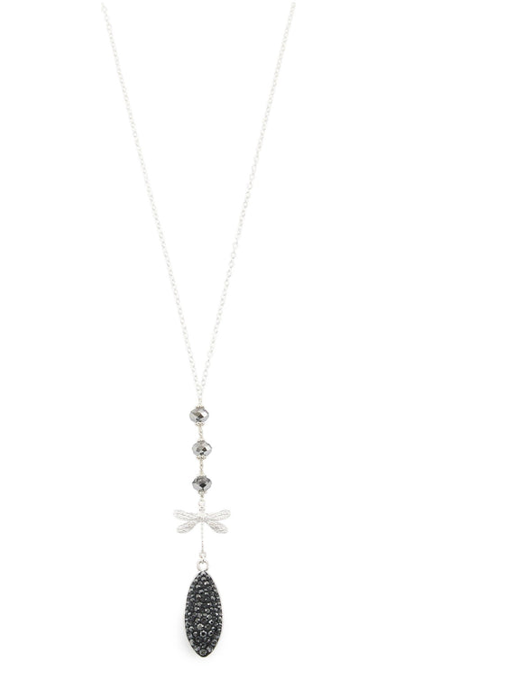 Long dragonfly necklace with Black Diamond Swarovski crystals - Dige Designs