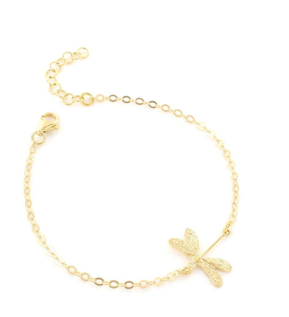Goldplated bracelet with dragonfly - Dige Designs