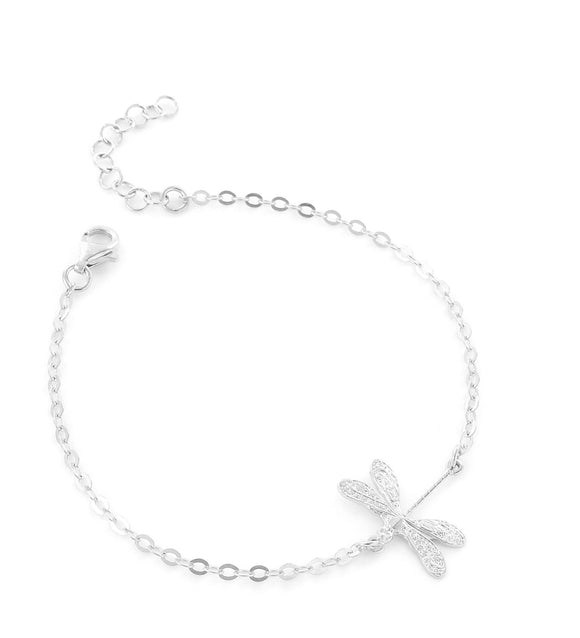 Silver bracelet with dragonfly - Dige Designs