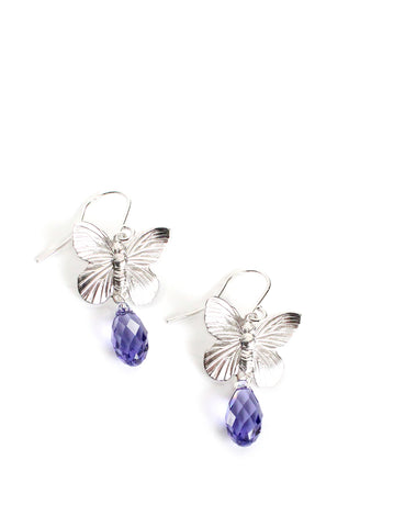 Silver butterfly earrings with tanzanite Swarovski crystal drops