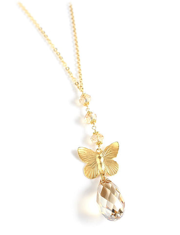 Long butterfly necklace with Swarovski crystals - Dige Designs