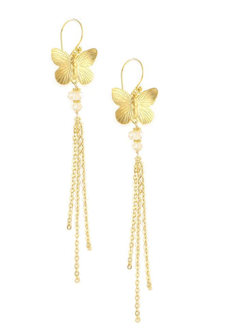 Long butterfly earrings with Golden Shadow Swarovski crystals - Dige Designs