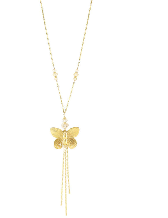Long butterfly necklace with Golden Shadow Swarovski crystals - Dige Designs
