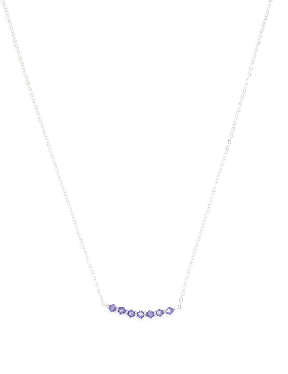 Short silver necklace with Tanzanite Swarovski crystals - Dige Designs