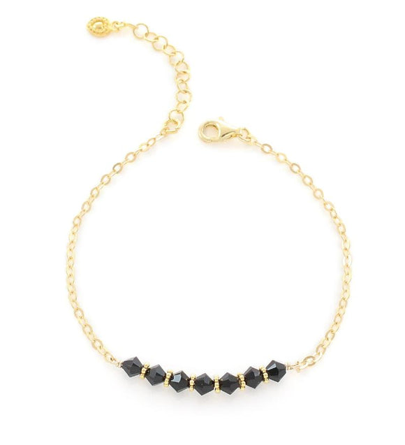 Goldplated bracelet with Black Swarovski crystals - Dige Designs