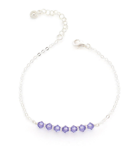 Silver bracelet with Tanzanite Swarovski crystals - Dige Designs