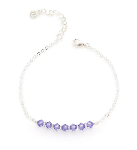 Silver bracelet with Tanzanite Swarovski crystals
