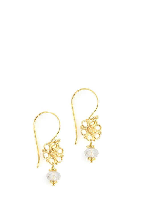 Goldplated earrings with Silver Shade Swarovski crystals - Dige Designs