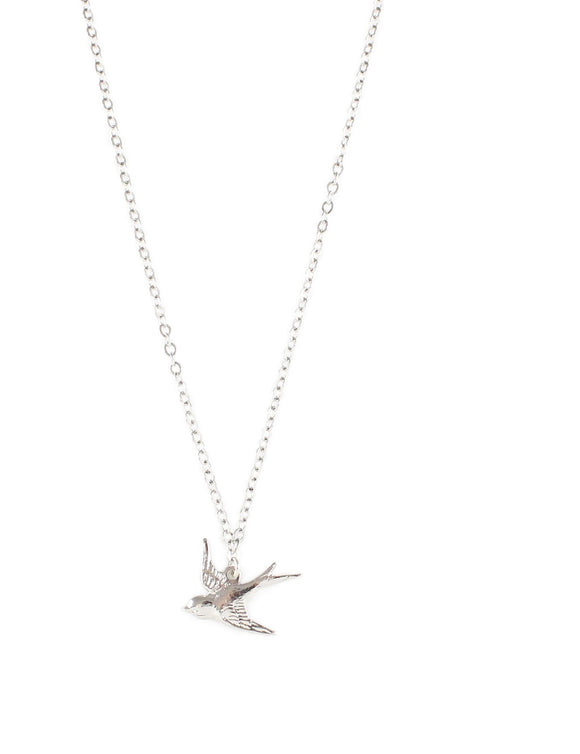 Short silver bird necklace - Dige Designs
