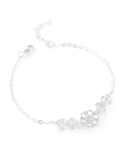 Dige Designs flower bracelet with Silver Shade Swarovski crystals