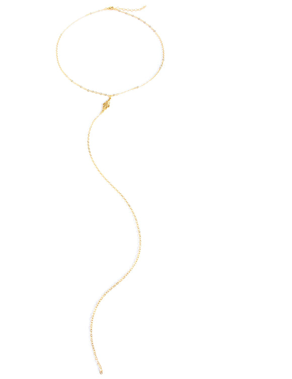 Long Y-shaped gold link necklace