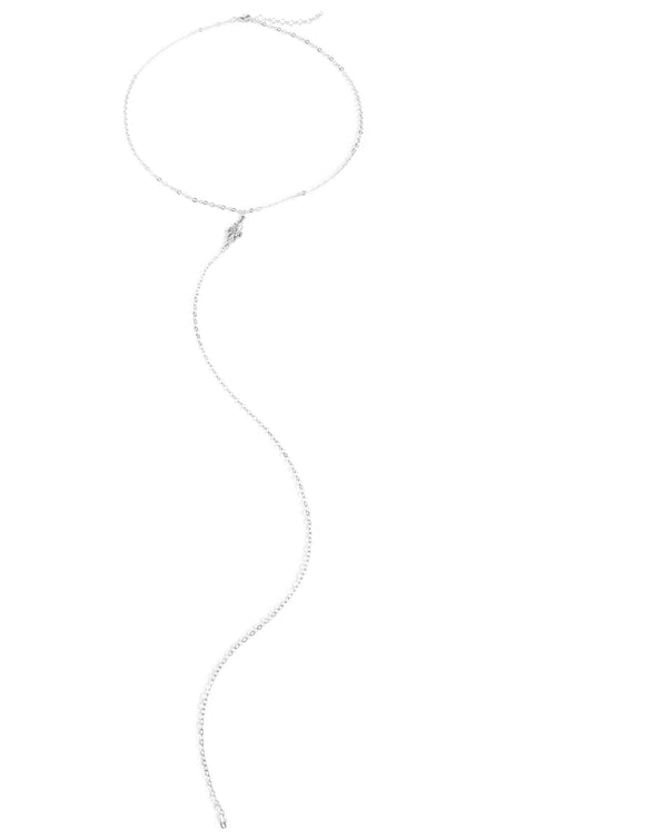 Long Y-shaped silver link necklace