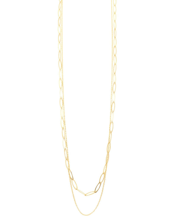 Long goldplated double chain necklace