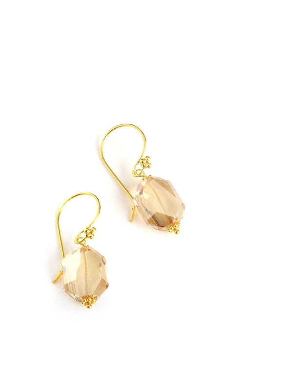 Earrings with Golden Shadow Swarovski crystals - Dige Designs