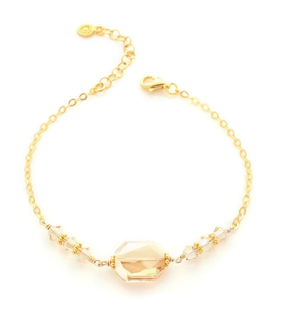 Bracelet with Golden Shadow Swarovski crystals - Dige Designs