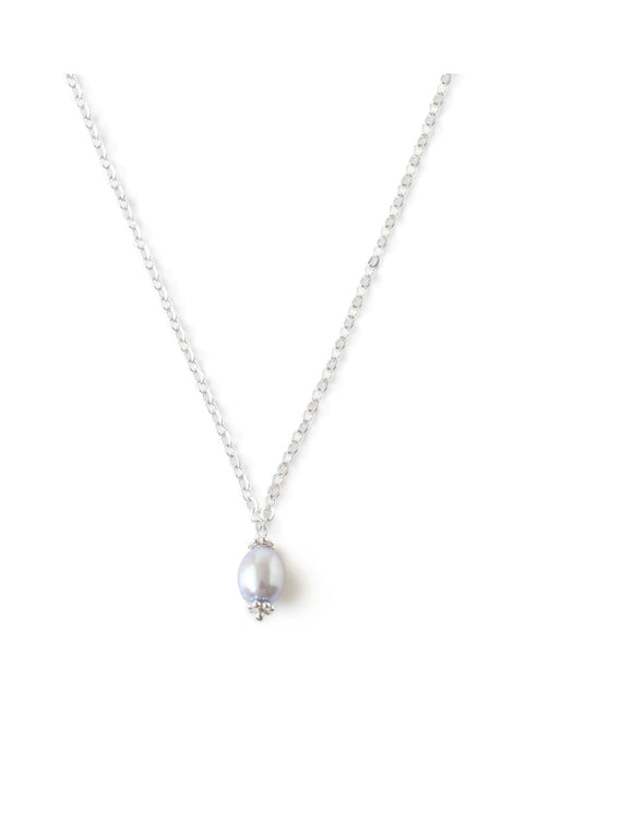 Silver necklace with light blue freshwater pearl