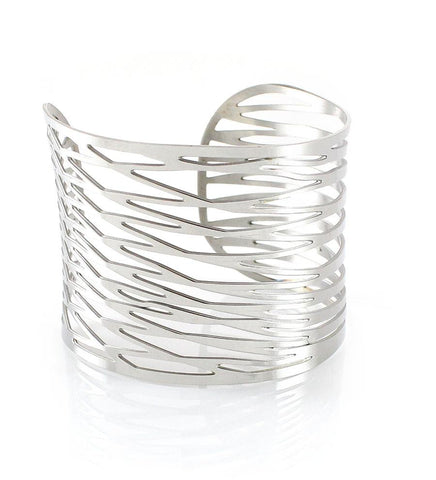 Silver Cuff Bangle Bracelet - Dige Designs