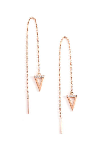 Long rose gold thread earrings with triangle pendants - Dige Designs