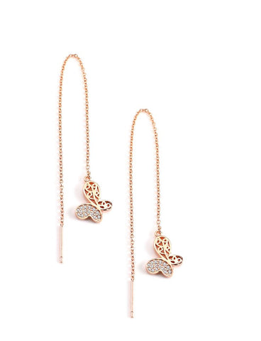 Long gold plated thread earrings with butterflies - Dige Designs