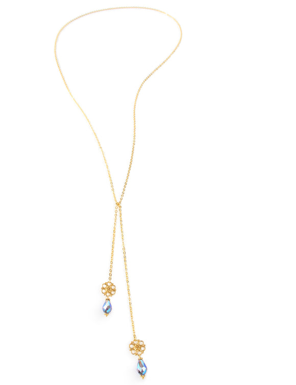 Dige Designs double wrap chain necklace with Tanzanite AB Swarovski drops