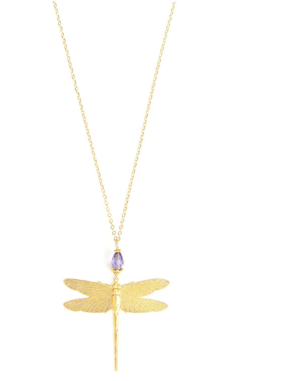 Long dragonfly necklace with Tanzanite Swarovski crystal - Dige Designs